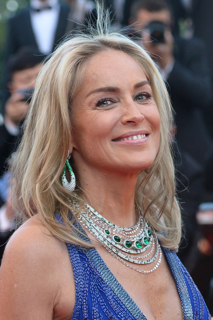 Sharon Stone made a statement in a large emerald and diamond necklace and matching earrings.