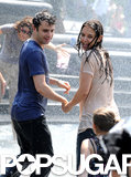 Katie Holmes and Luke Kirby jumped in an NYC fountain while filming Mania Days.