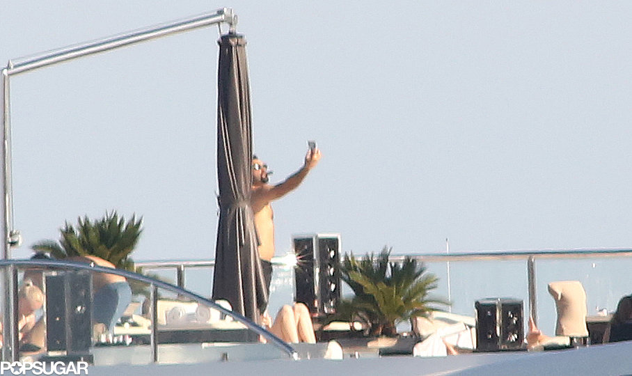 Leonardo DiCaprio captured the moment by snapping a shirtless selfie during a yacht party in the South of France.