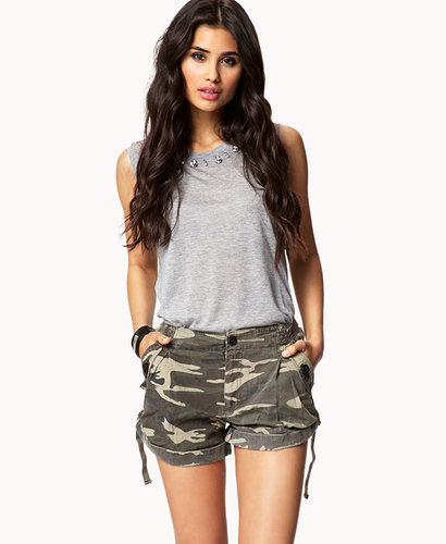 FOREVER 21 Buckled Camouflage Shorts