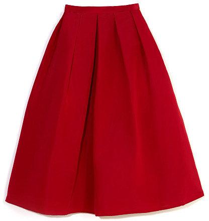 Tibi Deep Coral Silk Faille Full Skirt