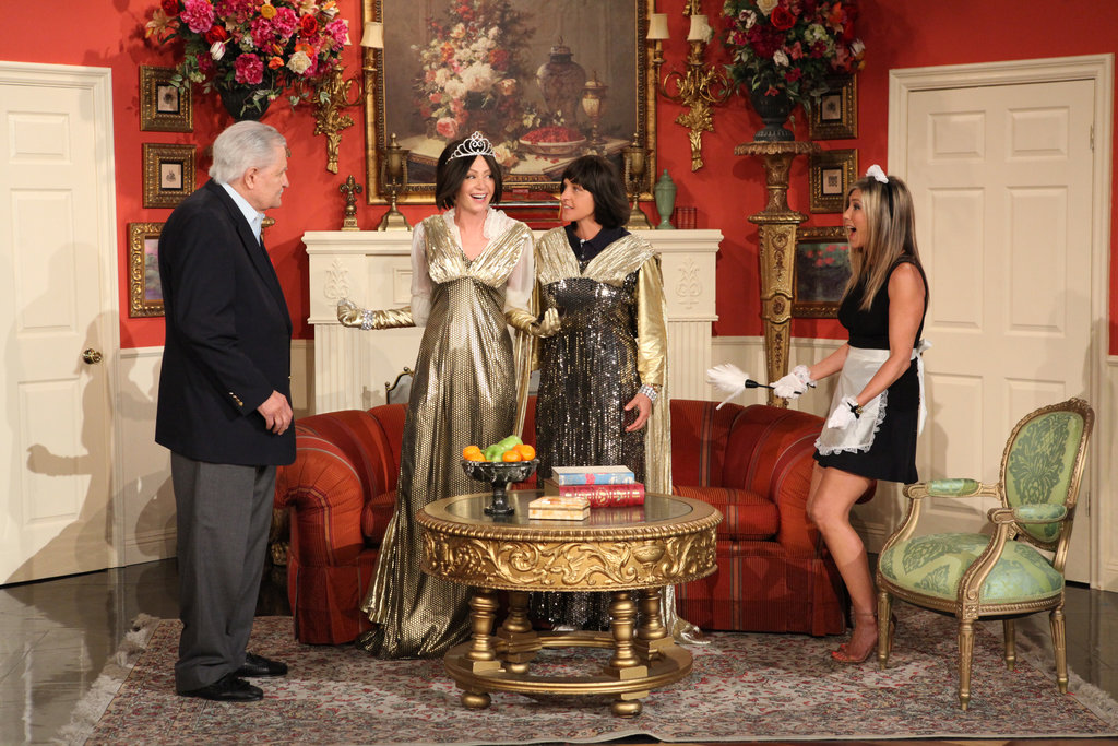 Jennifer Aniston is joined by her dad, John Aniston, for a soap opera skit on The Ellen DeGeneres Show. Source: Michael Rozman/Warner Bros.