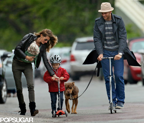 Gisele Bündchen and Tom Brady took Ben for a scooter ride in Boston.