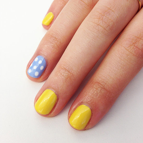 This simple yellow-and-blue nail art has a sunny look thanks to the complementing colour combination.