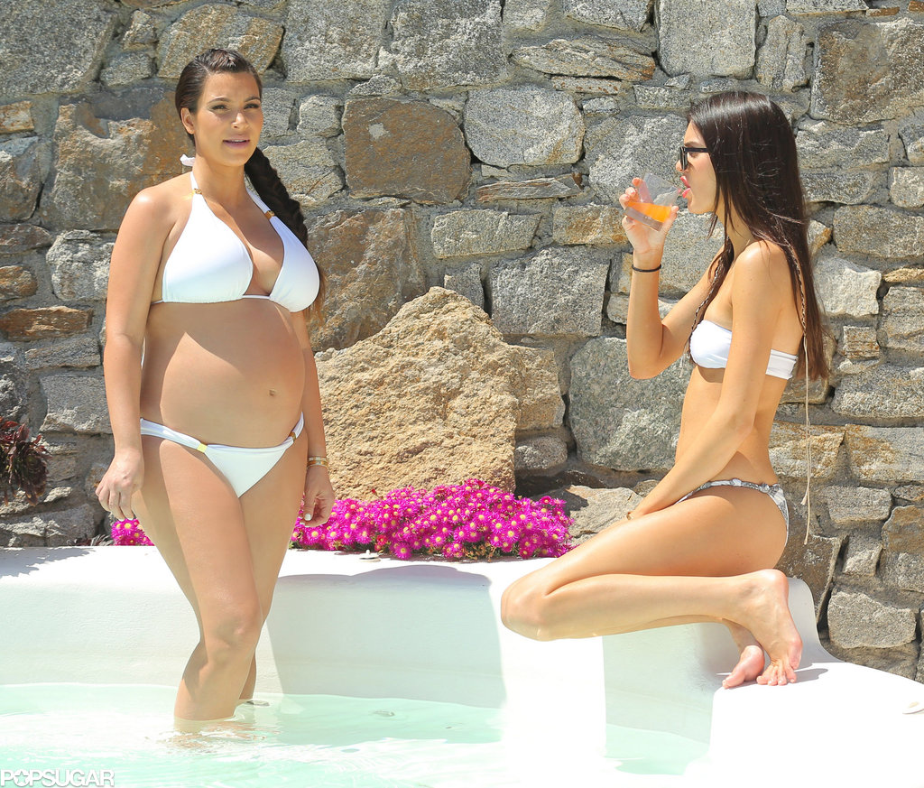Kim Kardashian and Kendall Jenner soaked up the sun in April 2013 in Mykonos, Greece.