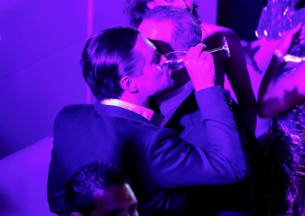 Leonardo DiCaprio treated himself to Champagne at a bash for jewelry brand de Grisogono in Cannes.