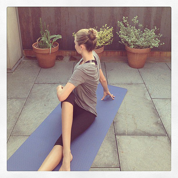 Miranda Kerr did some yoga stretches. Source: Instagram user mirandakerr