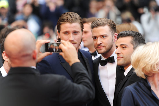 Justin Timberlake stopped for a picture with Garrett Hedlund and Oscar Issac at the Cannes Film Festival premiere of Inside Llewyn Davis on Sunday.