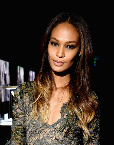Joan Smalls also attended the Bulgari soiree wearing her ombré hair split down the middle with beach waves.