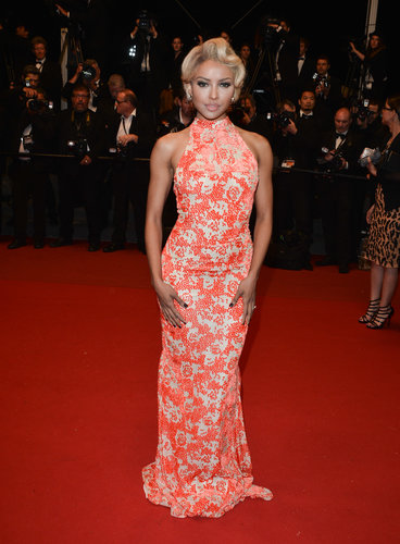 Kat Graham was glam in a red printed halter gown at the Only God Forgives premiere at Cannes.