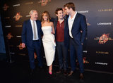 Director Francis Lawrence, Jennifer Lawrence, Sam Claflin and Liam Hemsworth attended a party for Catching Fire.