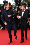 Garrett Hedlund and Justin Timberlake had a laugh at the premiere of Inside Llewyn Davis.