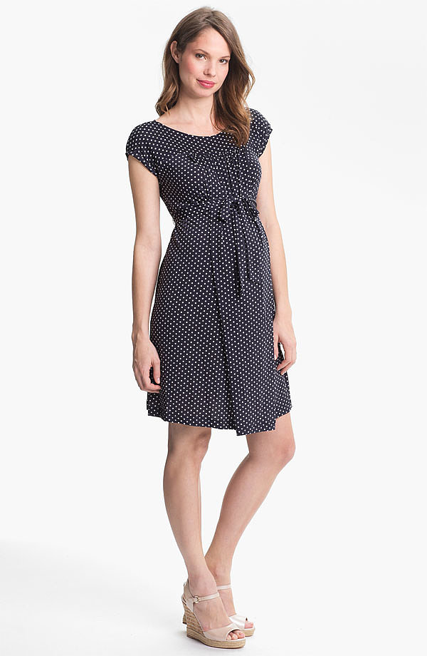 Japanese Weekend's pretty cap-sleeve dress ($118) can be worn with or without its coordinating belt. Added bonus? The bodice is designed for easy nursing access after the baby arrives.