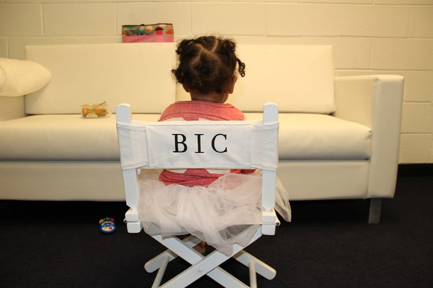 Beyoncé shared a sweet picture of little Blue Ivy Carter hanging out backstage during her mom's world tour. Source: iam.beyonce.com