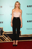 For the Great Gatsby premiere in Sydney, Carey Mulligan exuded femininity with a dash of menswear in a pastel pink Nina Ricci bustier and black high-waisted trousers.