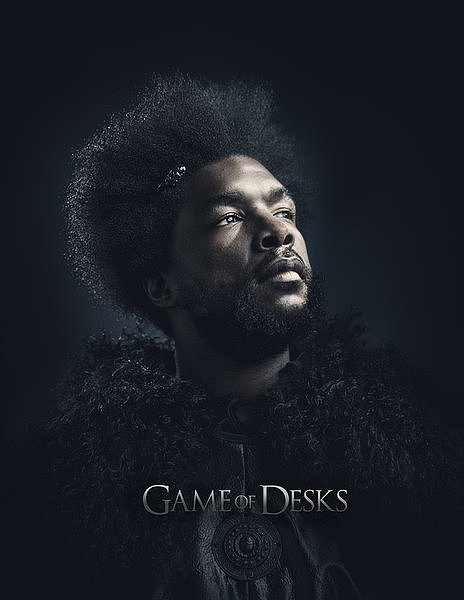 "Questlove looks serious in his ""Game of Desks"" portrait."