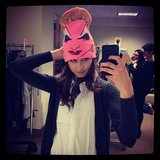 Pretty Little Liars star Troian Bellisario took a picture of herself in a funny hat in March 2013. Source: Instagram user sleepinthegardn