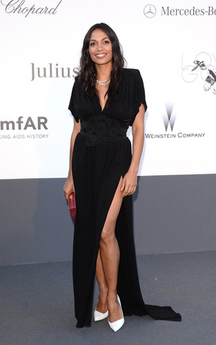 Rosario Dawson was undeniably chic in a black Vionnet gown — complete with a sexy side slit — and clean white pumps at the amfAR event.