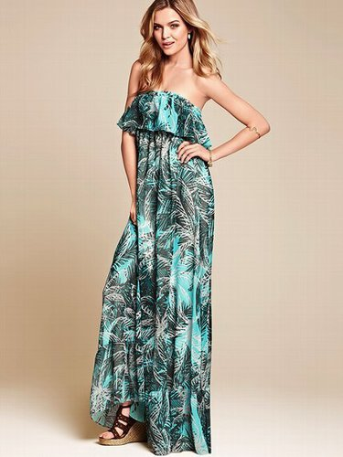 Strapless Ruffle Maxi Dress