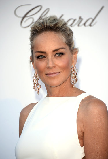 Sharon Stone wore her hair pulled back to show off her sun-kissed glow.