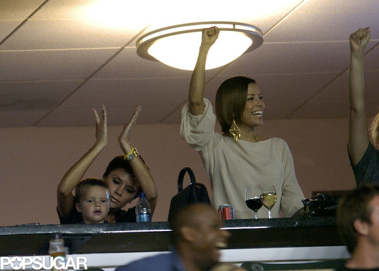 Victoria Beckham had cheering support from pal Eva Longoria during one of David's September 2008 matches.