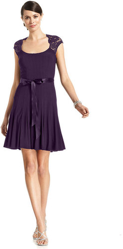 Xscape Dress, Cap-Sleeve Lace Pleated