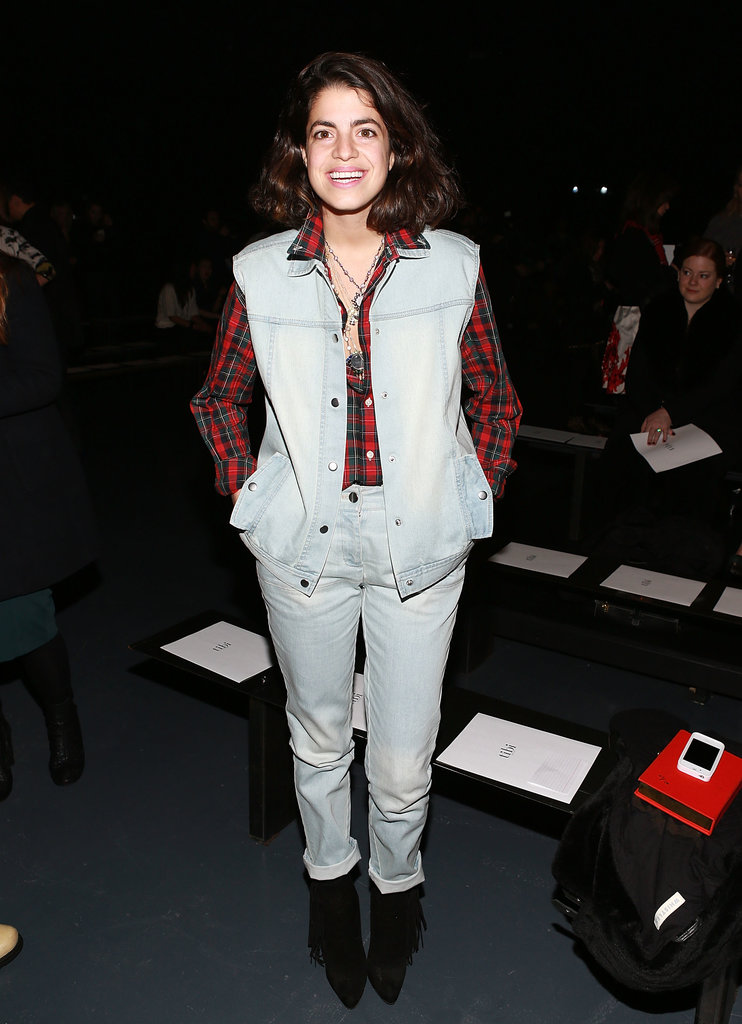 Double denim is a Do in Winter! Layer up a vest over a striped/spotted/plaid shirt to keep things interesting like Leandra.