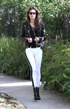 Alessandra Ambrosio sticks to monochrome. And no, you don't need supermodel pins to pull off white jeans.