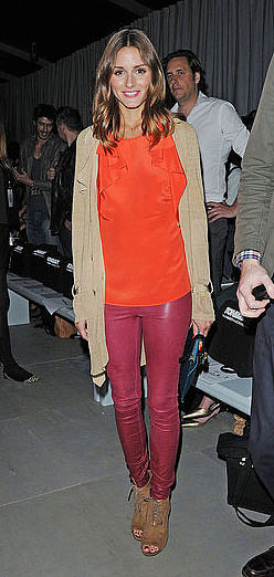 Bored of black leather skinnies? Try a coloured version like Olivia's raspberry strides.