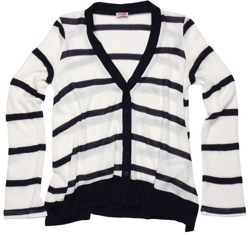 Splendid Littles - Harbor Stripe Loose Knit Cardigan (Big Kids) (White) - Apparel