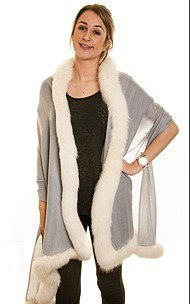 Pashmina Shawl with Ivory Fox Fur