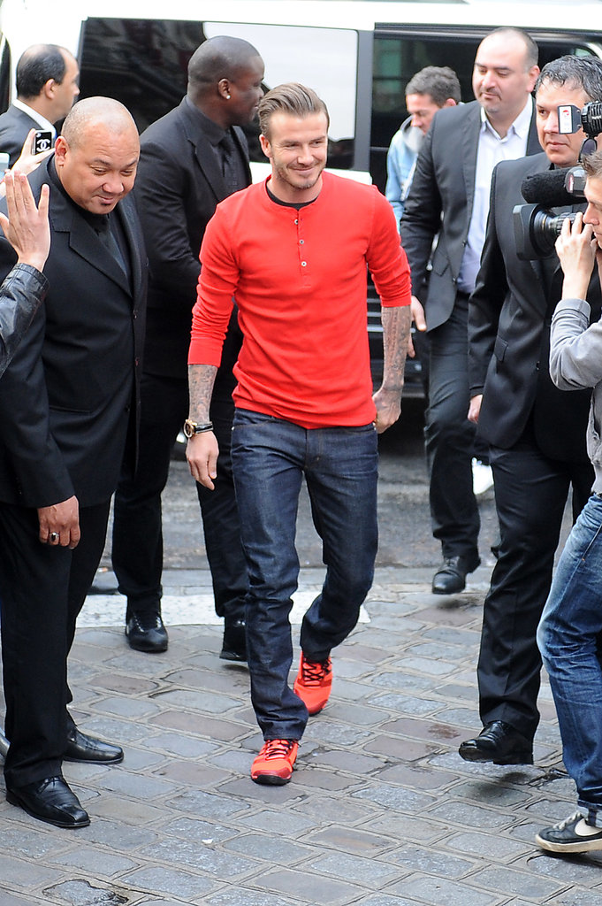 David Beckham greeted fans at an H&M store in Paris.