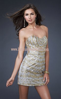 French Flair Gold Silver Eloquent Short Wrap Dresses 2013