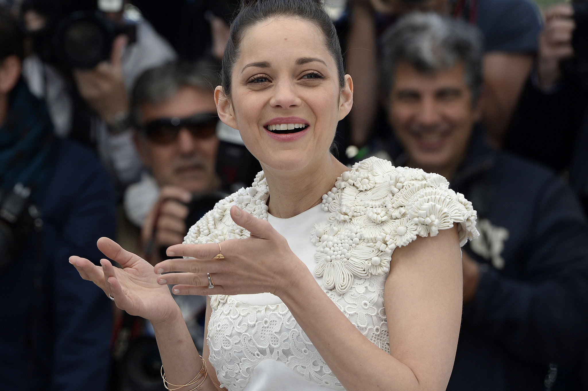 Marion Cotillard could barely keep her eyes open at the photocall for The Immigrant on Friday.