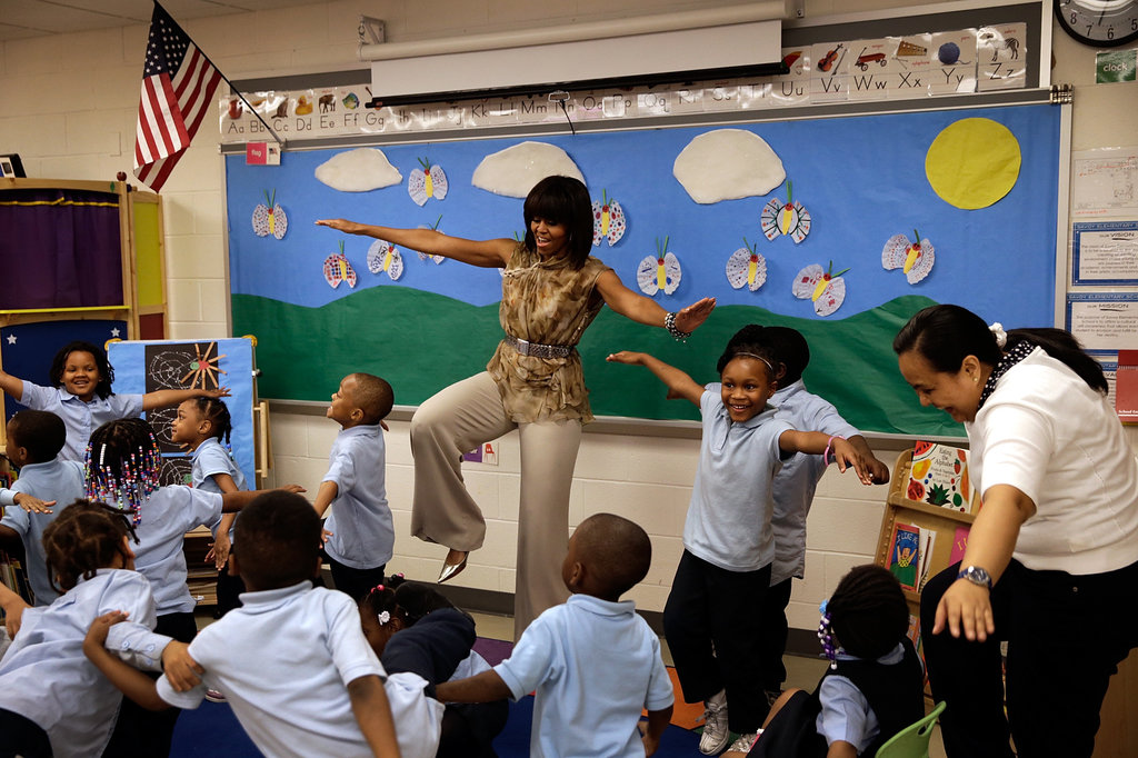 Michelle Obama showed off her yoga skills.
