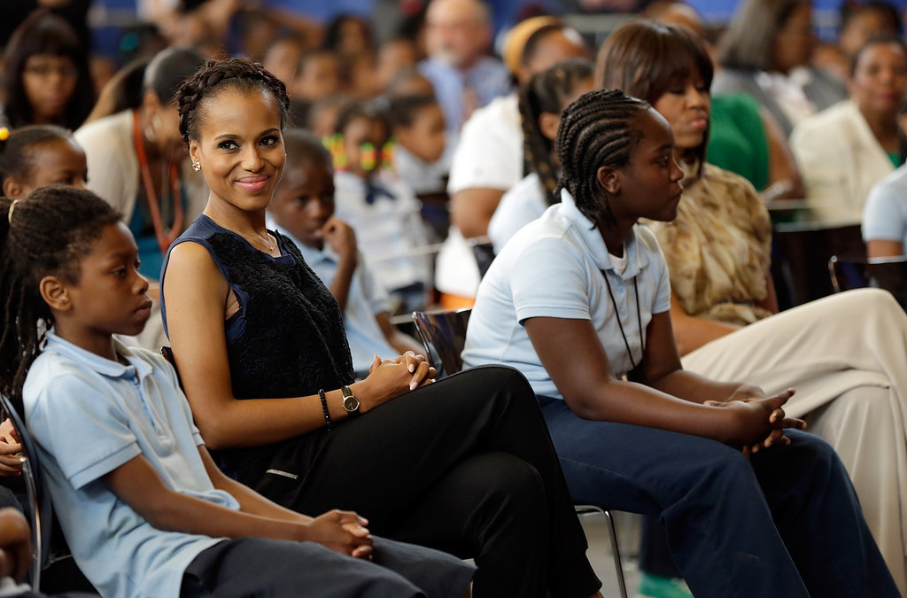 Kerry Washington sat among the students at Savoy Elementary School in Washington DC.