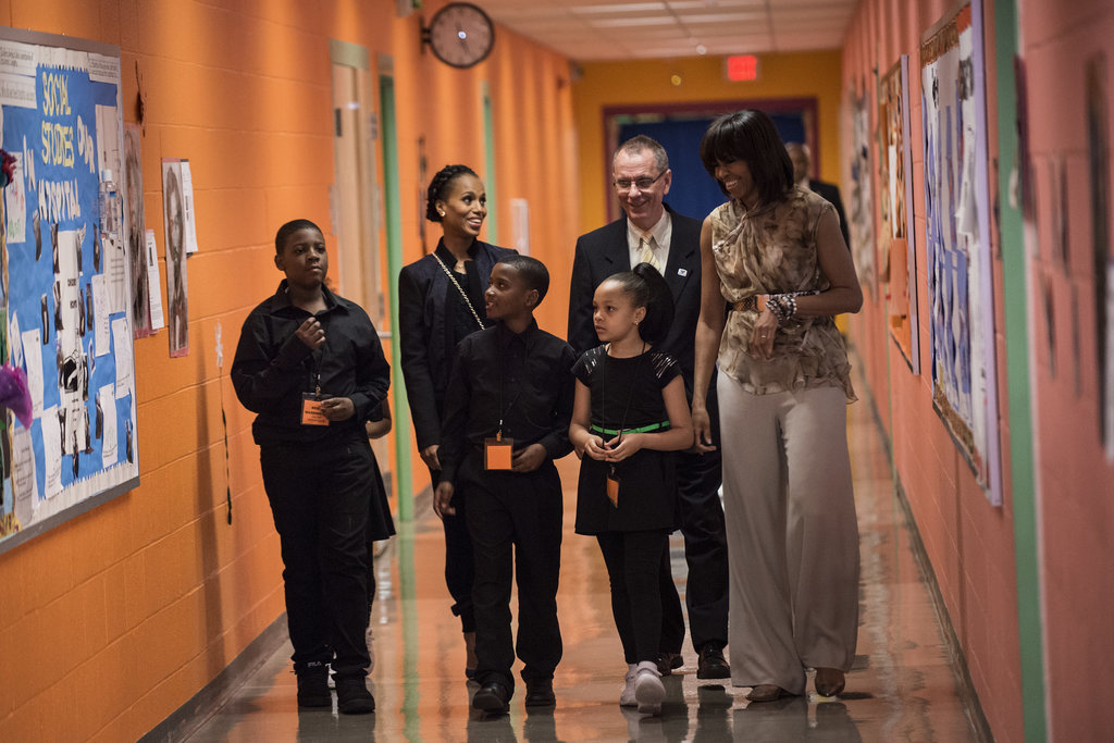 Kerry Washington and Michelle Obama walked the halls of Savoy Elementary School in Washington DC.