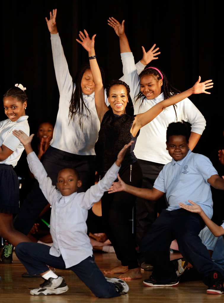 Kerry Washington danced on stage with students.