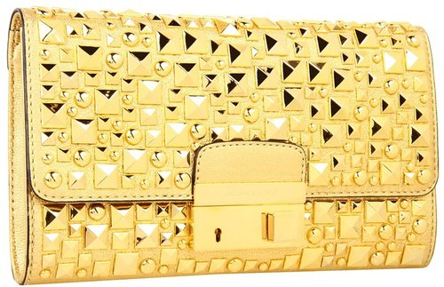 Michael Kors - Gia Studded Clutch with Lock (Gold) - Bags and Luggage