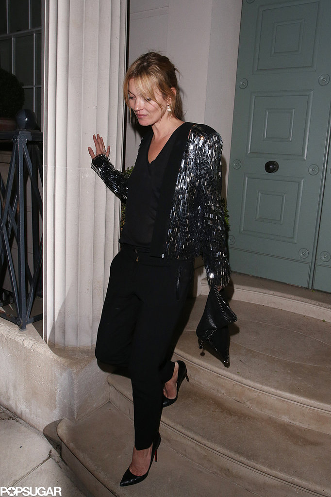 Kate Moss wore a sequined jacket.