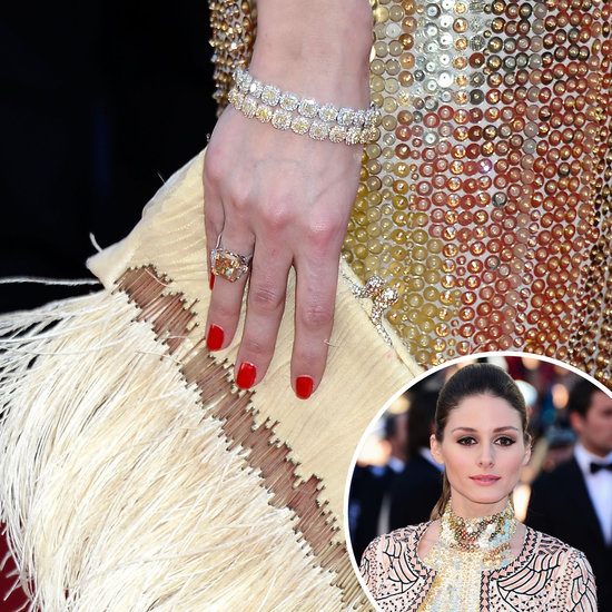 Hitting the red caret for the premiere of The Immigrant, Olivia Palermo showed off bold red nails that went perfectly with her golden ensemble.