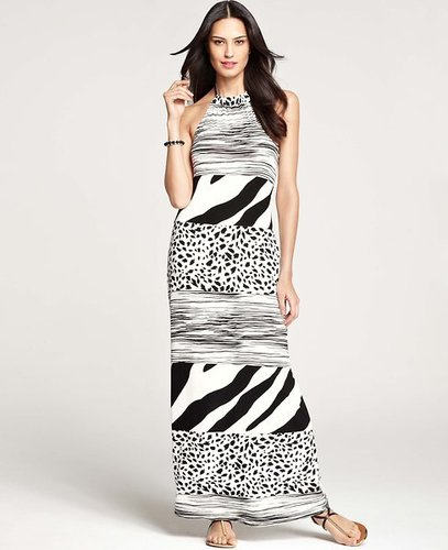 Petite Animal Trio Stripe Halter Maxi Dress
