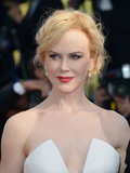 For the Cannes closing ceremony and the Zulu premiere, Nicole Kidman chose a romantic makeup palette of soft red lipstick and a winged smoky eye.