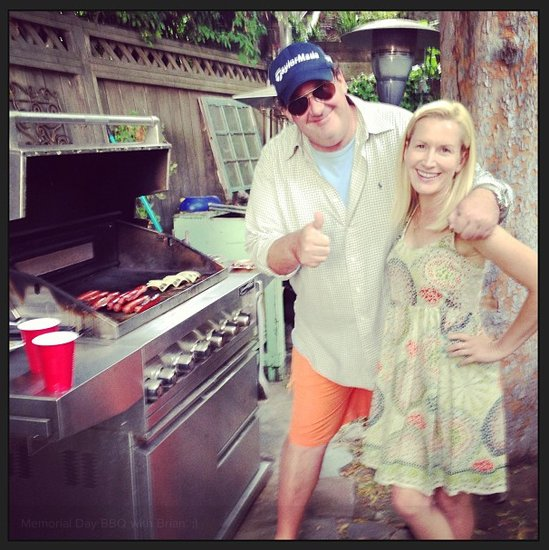 Angela Kinsey barbecued with her Office costar Brian Baumgartner on Monday.  Source: Instagram user angelakinsey