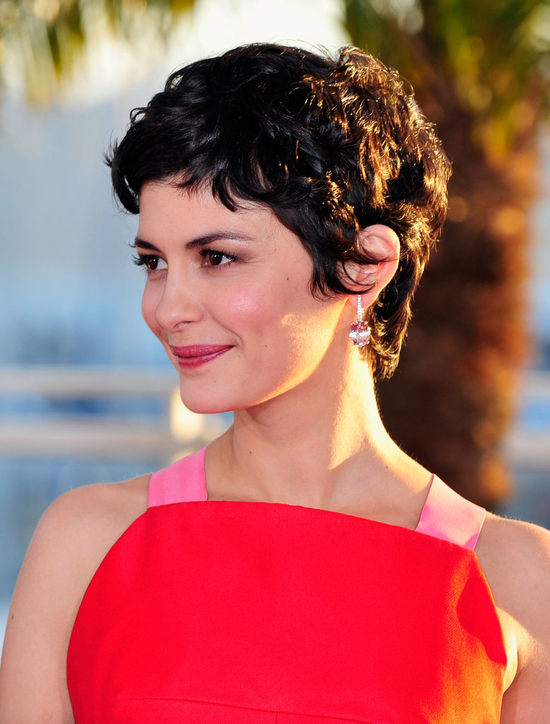 Audrey Tautou kept her signature pixie, complemented by bronzed eyes and a pink lip.