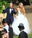 """Aaron Paul celebrated with his wife, Lauren Parsekian, following their official May 2013 """"I dos"""" in Malibu."""