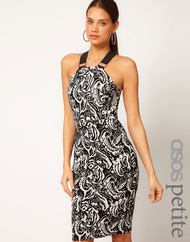 ASOS PETITE Exclusive Body-Conscious Dress In Mono Print