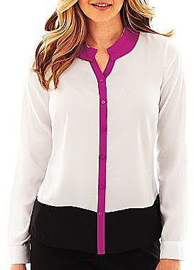 Worthington® Colorblock Button-Front Blouse