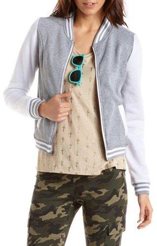Zip-Front Fleece Varsity Jacket