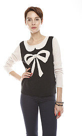 Yumi London Bow Striped Sweater